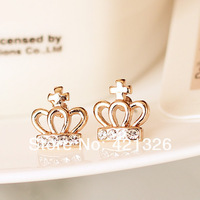 Gold plating crown stud earrings,fashion design ear studs,stud earring in bulk  ES0004