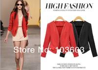 Fashion double zipper solid color women small suit clothes, ladies Autumn 2014 short paragraph waist big yards Coat Apparel