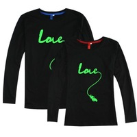Combed cotton lovers t-shirt black long-sleeve plain love