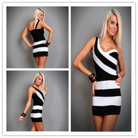 2013 new fashion sexy clothes for women one shoulder tight striped Clubwear dress splice lingerie dresses free shipping Z186