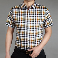 Summer SEPTWOLVES short-sleeve plaid shirt male short-sleeve shirt mercerized cotton casual plaid shirt