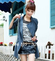 Spring autumn 2013 women's slim elastic waist khaki green medium-long sunscreen casual outerwear trench Free Shopping