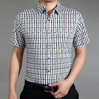 Septwolves short-sleeve shirt male summer new arrival mercerized cotton shirt men's clothing business casual plaid shirt