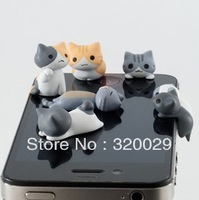 Lovely Cat Anti Dust Earphone Plug Headset Stopper Cap for iphone 4 4S for iphone 5 for Samsung for HTC 3.5mm,Free shipping