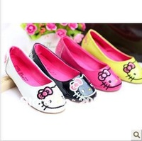 Free shipping 2014 spring autumn new girls Leather shoes  kids  princess shoes   lovely  KT  flat shoes 28-32
