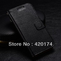 100% Original Geniune leather case with wallet design, card holder flip cover for Samsung Galaxy S IV S4 i9500 +screen protector