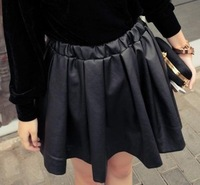 A17Europe black loose retro metallic PU leather high waist big swing skirts vintage casual ruffle puffle skirt Free shipping