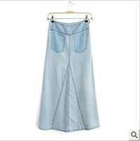 2013 autumn saias long skirts thin denim slim hip half-length skirt full denim skirt