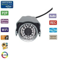 Hot selling! Waterproof home security camera with IR 25m night visio, 64 channel, Plug and play network camera 0.3Mega