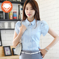 2013 summer new arrival fashion white collar formal professional women slim short shirt