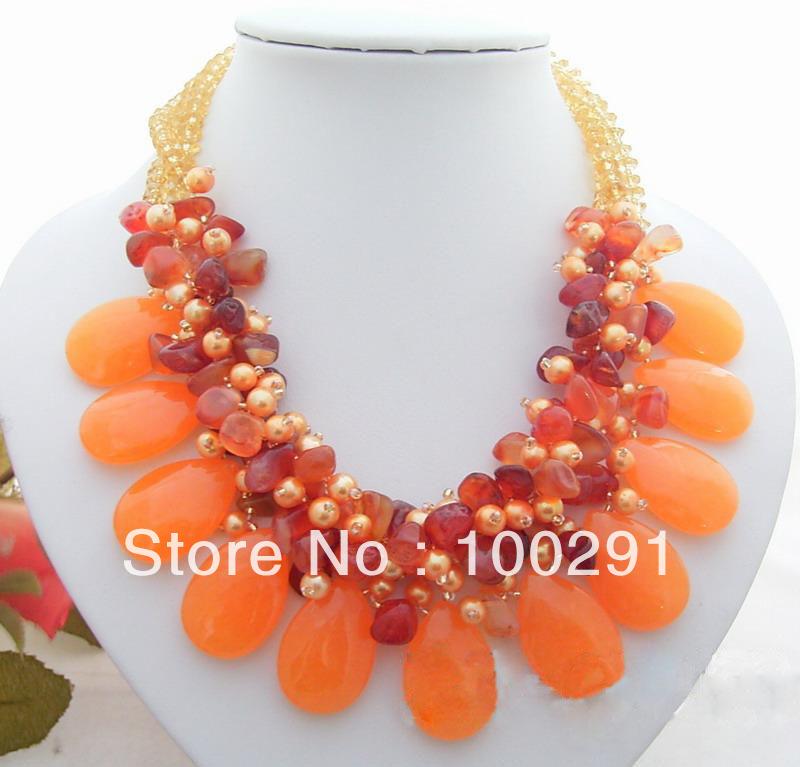 Free ship@@ 3Strds Pearl&Orange Jade&Carnelian Necklace(China (Mainland))