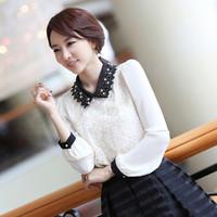 Plus Size 2013 Spring Women's Embroidery Lace Flower Sweet Chiffon Shirt Elegant Ladies' Black Lace Collar White Chiffon Blouse