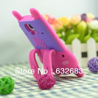 Cute 3D Big Face Rabbit Silicone Rubber Stand Cover Case For Samsung Galaxy S4 i9500, Free Shipping!