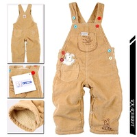 2013 male child girls clothing kk rabbit corduroy bib pants child plus velvet thickening baby cotton trousers