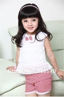 2013 100% laciness cotton female child set vest shorts children's clothing