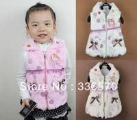 2013 child autumn female child baby balloon pattern wool vest outerwear vest