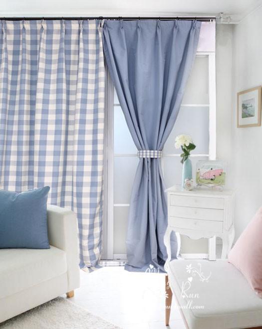 achetez en gros rideaux carreaux bleu en ligne des. Black Bedroom Furniture Sets. Home Design Ideas