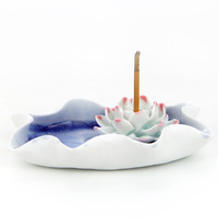 Accessories handmade single hole crack chassis three-color flower lotus incense burner incense holder