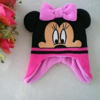 Wholesale 2-7Y Kids Autumn/Spring Minnie/ Mickey Earflap Warm Hats, Children's Christmas Caps Gift Cap Girls Beanies 3pcs/lot