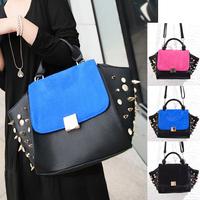 Wholesale 2013 New Matte Leather Women Handbag Rivet Black Bat Smiling Bag Ladies Fashion Purses Free/Drop Shipping