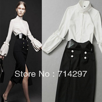 2013 new women retro lantern sleeve collar shirt skirt suit