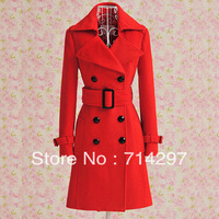 2013 Luxurious new women red double-breasted wool coat with belt