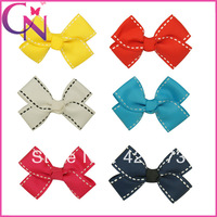 new arrival 18 pairs/lot 2.8 inch boutique handmade striped printed grosgrain ribbon small hair bow for girls CNHB-13082615