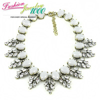 New Fashion Brand Crystal Inline Leaf Choker Necklace Vintage Retro Party Jewelry For Women Free Shipping