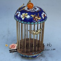 Oriental chinese old cloisonne fetal copper copper Miao silver Porcelain Bird Cage home decoration
