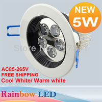 100pcs/lot Free shipping 5W LED Ceiling Light,downlight ,spot,lamp AC85V-265V  Epistar