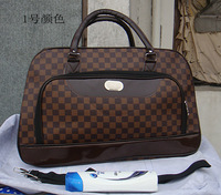 Free shipping Brown square grid general waterproof large capacity travel PU luggage bag travel bag portable travel bag