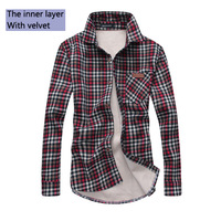 Free shipping new men and cashmere thickening of 100% cotton shirt leisure men's Plaid Shirt