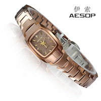 Aesop women's tungsten steel watches rose gold waterproof women's quartz rhinestone ladies watch