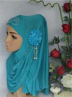 2013 NEW fashion women Muslim hijab,viscose embossed flower with hanging beads bandanas,islamic  hijab, beautiful,multi-color