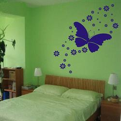 Gratis verzending vlinder met bloem muurstickers kamer muurschildering vensterglas badkamer - Decoratie usa voor kamer ...