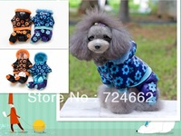 Sale Promotion!  Free Shipping New 2013 Flower Black And Blue Puppy Dog Jumpsuit Apparel For Pets  DF-A3030 Clothes