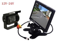 "12v- 24v 7"" LCD Monitor Car Rear View Kit + IR Reversing Camera For Bus Long Truck with 2*10m cable"