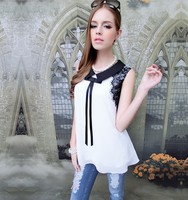2839 2013 summer white black lace chiffon shirt