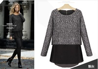 Free Shipping 2013 autumn and winter new fashion women's T-shirt woolen sweater thickened stitching chiffon shirt