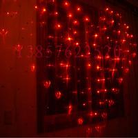 124PCS LED 14PCS Heart-shaped  Flash Holiday Decorations 2 M wide LED Curtain String Christmas Window Fairy Wedding Party