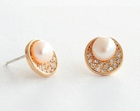lowest price in aliexpress real shell pearl earrings with rhinestone rose gold plated wholesale women's jewelry free shipping