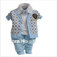 3sets/lot  2013 Spring Autumn Baby Boy's 3pcs Set(Plaid Coat+Tie T-shirt+Pants)Infant Long Sleeve Set ,Kid's Gentleman Set