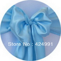 100pcs Factory Direct Sale High Quality Sky Blue Chair Sash For Weddings Events &Party Decoration