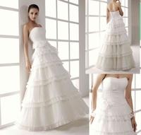 Simple  Elegance A-line Custom made Sweetheart  Pleats Organza layers Wedding Dress Gown