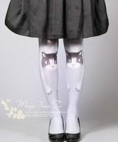 Cat HARAJUKU 2 double pattern socks ultra-thin bortsprungt pantyhose socks new arrival