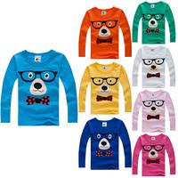 2014 autumn child glasses dog male female child baby long-sleeve T-shirt 100% cotton shirt Children's T-Shirt free shipping