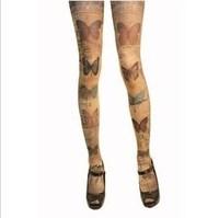 Grimoire HARAJUKU print socks vintage butterfly socks pantyhose