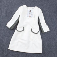 2013 winter new women's European and American big fight minimalist pocket sleeve round neck loose dress ribbon