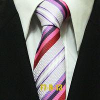 Men`s Hot Business Formal White Red Pink Purple Ties For Men Striped Man Classic Neckties Distinctive Gravatas F7-B-13 7CM