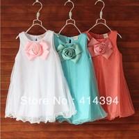 Free shipping 2013 summer korean fashions flower princess dresses children clothing wholesale 5pcs/lot 3t to 7 girl dresses